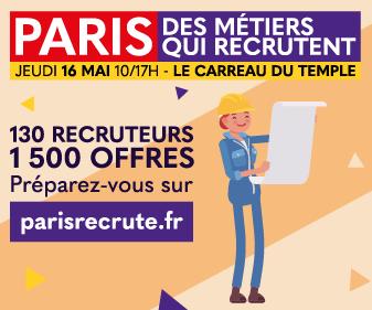 venez nous rencontrer le 16 mai 2019 dans le cadre du salon Paris des métiers qui recrutent.